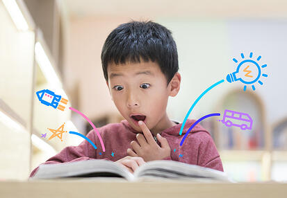 Boy with autism learning to read