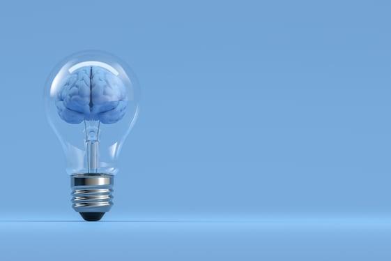 IQ brain in lightbulb