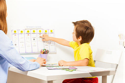 boy with autism looking at daily schedule