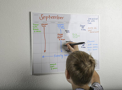 boy with autism using a written schedule