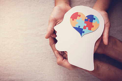 puzzle jigsaw heart on brain for autism awareness