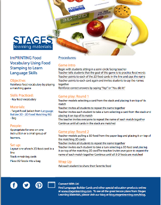 lesson plan imprinting food vocabulary to learn language skills